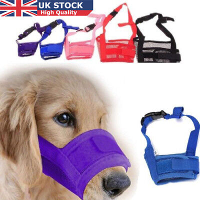 UK Large Small Dog Nylon Adjustable ANTI Bite Bark SAFETY MUZZLE Breathable Mesh