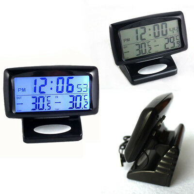 Car Thermometer Electronic Clock Outdoor Plastic Practice Auto Digital 2 in 1
