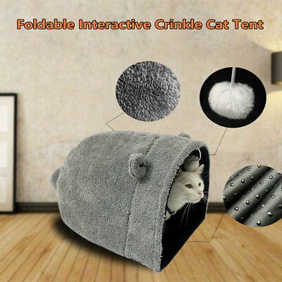 Interactive Crinkle Kitty Cat Sleeping House Bed Portable Pet Tunnel Play Toys