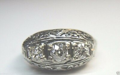 Antique Vintage Art Deco Diamond Engagement 18k White Gold Ring Size 6 EGL USA