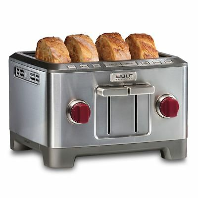 WOLF Gourmet WGTR104S, High Performance 4-Slice Toaster - Red Knob