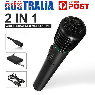 2 in 1 Wired&Wireless Handheld Cordless Microphone MIC Studio System Karaoke LED