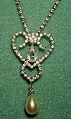 Vintage Art Deco Prong Set Crystal Rhinestone Heart Necklace Bridal Evening