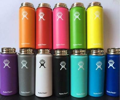 Hydro Flask Water Bottle Stainless Steel Insulated Wide Mouth Straw Cap Drink