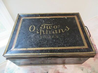 Vintage VERY Rare Two Orphans Cigars Tobacco Tin Canister Advertising Box