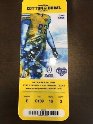 2018 Cotton Bowl Playoff Semi MINT CLUB Ticket 12/29/18 Stub Notre Dame Clemson