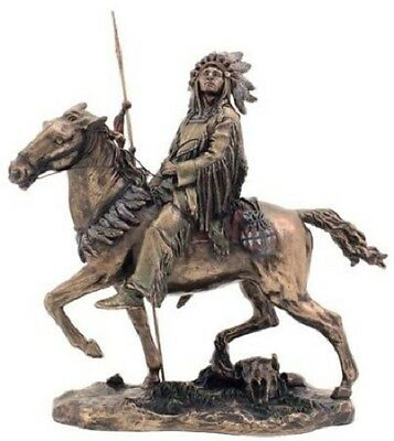 9.5 Inch Cheyenne Indian Riding Horse Statue Figurine American Warrior Indio