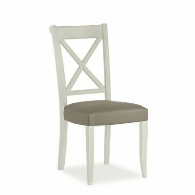 Georgian Painted Furniture Grey & Walnut Olive Grey Cross Back Dining Chair PAIR