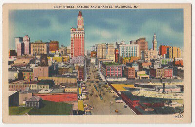 Baltimore Maryland c1940's downtown business district, skyline, wharves