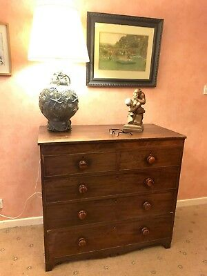 Victorian c1880 Antique mahogany chest of drawers very solid strong drawers