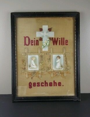 Victorian Antique German Sampler Religious Punch Paper Needlepoint Embroidery