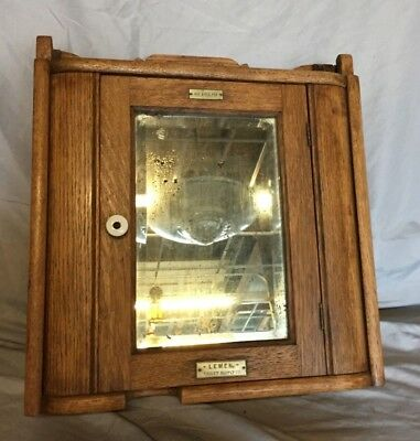 Antique Wood Medicine Cabinet Cupboard Beveled Mirror Shabby Vintage Chic 13-19C