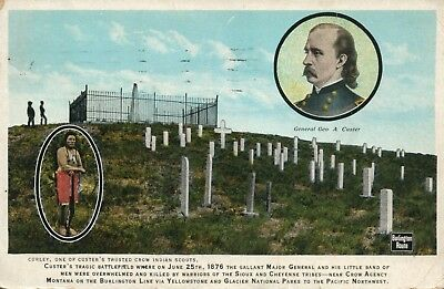 General George Custer Postcard Custers Battlefield where he was killed