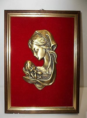 Vintage Bronze d'art  MADONNA And CHILD ICON Plaque Holy Mother