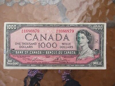 Canadian $1000 Dollar Bank Note Paper Bill AK1686879 Circulated 1954 Canada