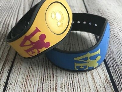 Set of 2 Disney Magic Band 2.0 Decals stickers Mickey Love Yellow & Pink