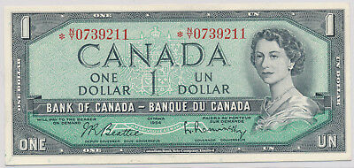 BANK OF CANADA REPLACEMENT 1 DOLLAR 1954 BC-37bA *NY0739211 - EF+