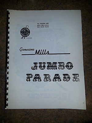 MILLS JUMBO PARADE MANUEL 8 Page SLOT MACHINE MANUAL ANTIQUE SLOT MANUEL REPO
