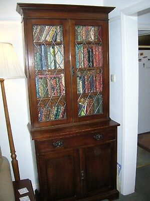 Vintage Large Display Bookcase With Glass Front Doors Drawer & Lower Cabinet