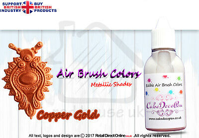 Metallic Edible Colours | Air Brush Cake Decorating | 20 ML | Copper Gold