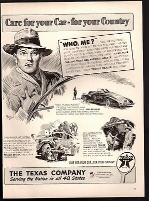 Original 1942 Vintage Print Ad Texaco Dealer Oil Gas Station Fred Allen