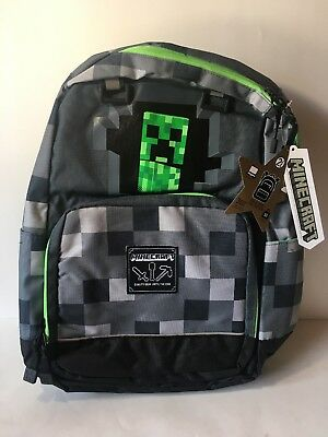 "JINX MOJANG MINECRAFT CREEPY CREEPER KIDS BACKPACK 17"" School GRAY BLACK GREEN"