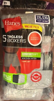 Hanes Men's Knit Boxer 5 Pack - Assorted Colors - Small - 2XL Brand New