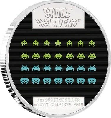 SPACE INVADERS 40th Anniversary 30ml Silver Coin 2$ Niue 2018. Power Coin