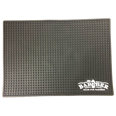 Mr. Barber Black Station Mat Chemical & Water Proof; Keeps Clippers from Sliding