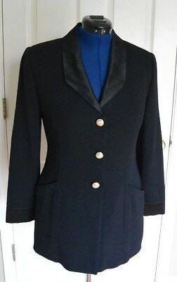 St. John Evening Marie Gray 12 M Black Jacket Satin Lapels Santana Knit Blazer