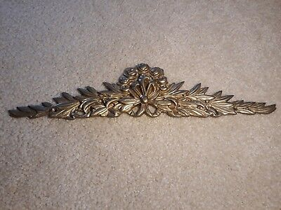 "Heavy Cast Brass Picture Mirror Door Topper ~ 14"" Flowers and Ribbons"