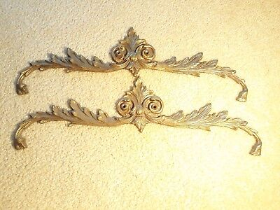 """PAIR Vintage Solid Brass Ornate Gold Plaque Mirror Door Picture Topper Wall ~16"""""""