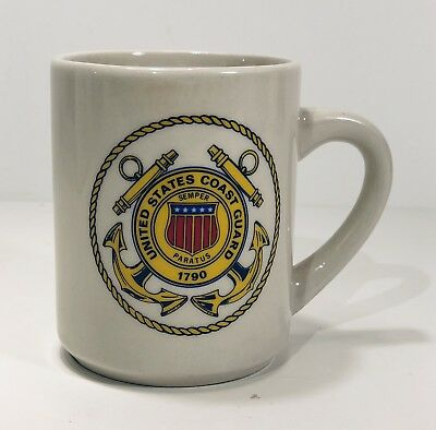 "United States Coast Guard 1790 ""Semper Paratus"" Motto Insignia Coffee Mug 3-5/8"""