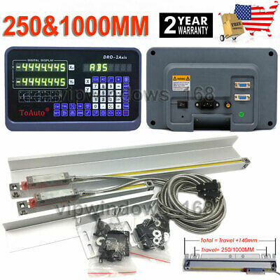 """2 Axis Digital Readout DRO 10"""" x 40"""" Linear Glass Scales CNC Milling Lathe Kit"""