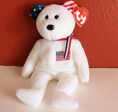 Ty Beanie Babies America USA Red Cross Toy Bear MWMT White Version Retired Rare