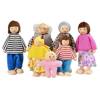 Kids Baby Wooden Doll House People Doll Toys for Girls Happy Family of 7 People