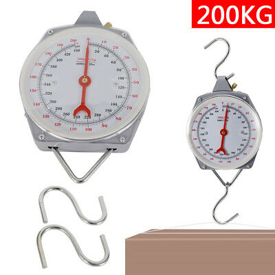 Portable 200Kg/440Lbs Heavy Duty Hanging Weighing Scales W/ Hook Fishing UPS