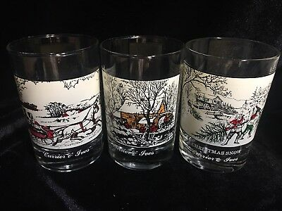 Currier and Ives Arby's Christmas Tumblers Glasses 1981 set of 3 vintage