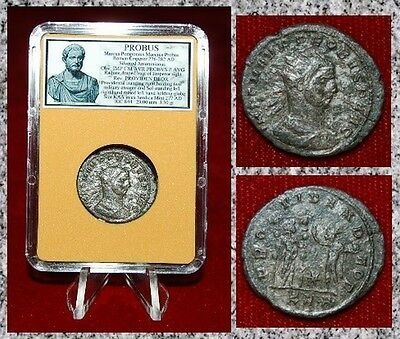 Ancient Roman Empire Coin Of Probus Providentia And Sol Standing Together