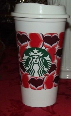 Starbucks 2019 RETRO HEARTS REUSABLE CUP Valentine's Day Gift Card GRANDE 16oz