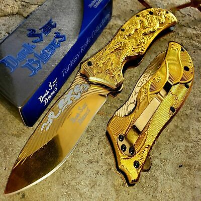 "8"" Pocket Knife Spring Assisted Dragon Hunting Tactical Folding Alum Handle Gold"