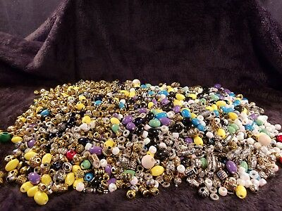 Lot of 100 Glass Plastic Metal Beads for Jewelry Making or Crafts
