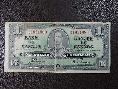 1937 $1 Dollar Bank Note Canada W/M1951980 Coyne Towers F Grade Birthday Bill