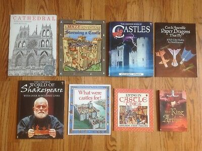Lot 8 Middle Ages & Medieval HIstory Books CASTLES Knights SHAKESPEARE Usborne +