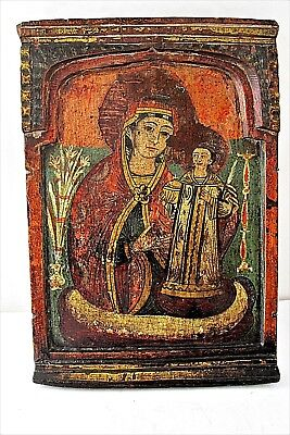Authentic Antique Greek Icon Mother of God  19th Century