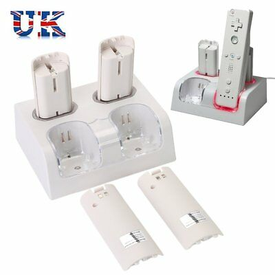 4x Charger Power Supply Dock Station+4 Rechargeable Battery For Nintendo Wii UK