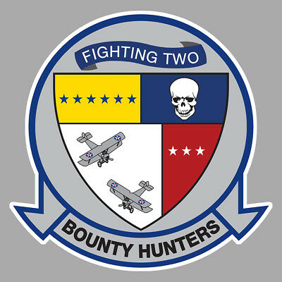 Collection Here Grumman Tomcat F14 Blason Vf 2 Bounty Hunters Squadron 10cm Avion Sticker Av107 Automobilia Badges, Insignes, Mascottes
