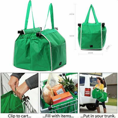 1-5pc Foldable Shopping Bag Reusable Eco Grocery Cart Trolley Carrier Handle Bag