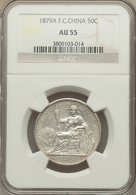 French Cochin China 50 Cents 1879A NGC AU 55