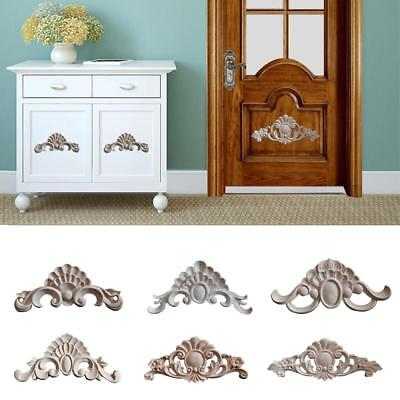 Wood Carved Applique Frame Onlay Furniture Art Carving Decor Craft Unpainted